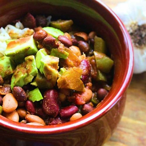bowl of vegan chili