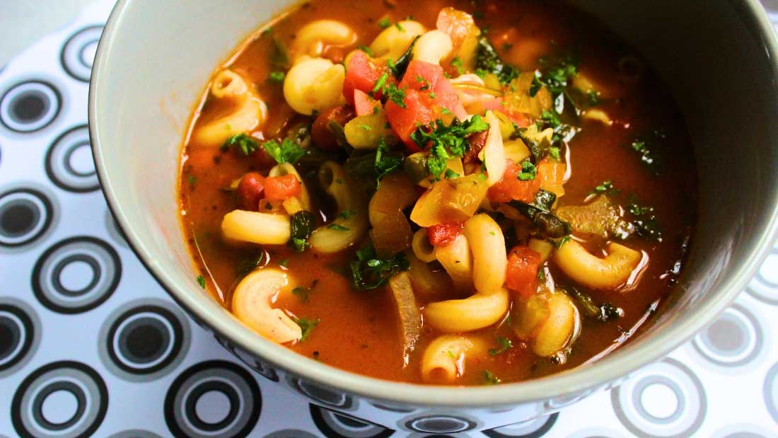A bowl of vegan minestrone soup.